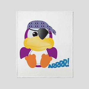 Purple Ducky Duck Pirate Throw Blanket