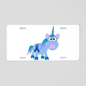 Blue Awareness Ribbon Goofkin Aluminum License Pla