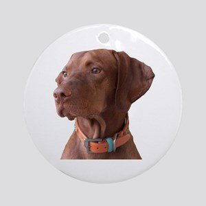 "Vizsla head shot of ""Tru"" Ornament (Round)"