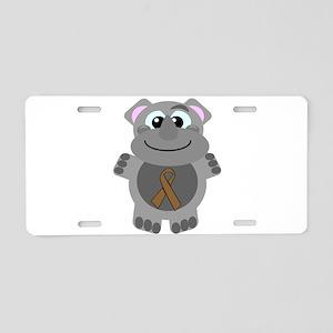 Brown Awareness Ribbon Rhino Aluminum License Plat