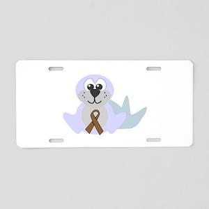Brown Awareness Ribbon Seal Aluminum License Plate