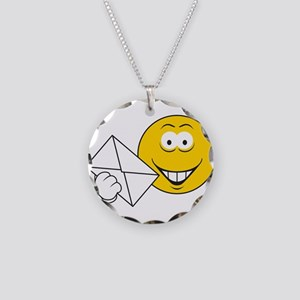Postal Smiley Face Necklace Circle Charm
