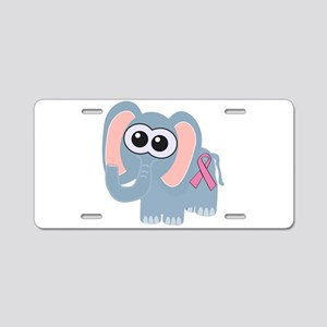 Pink Awareness Ribbon Elephan Aluminum License Pla