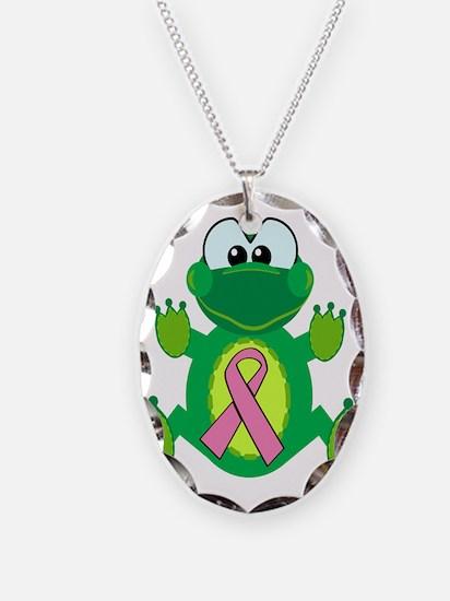 Pink Awareness Ribbon Frog Necklace