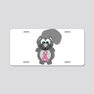 Pink Awareness Ribbon Squirre Aluminum License Pla