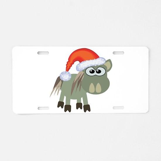 Cute Christmas Donkey Santa Aluminum License Plate