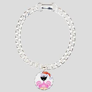 Cute Christmas Santa Flamingo Charm Bracelet, One