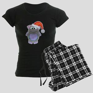 Cute Chrismas Hippo Santa Women's Dark Pajamas