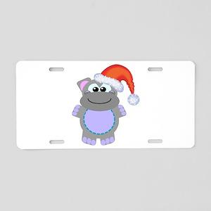 Cute Chrismas Hippo Santa Aluminum License Plate