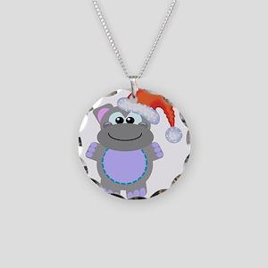 Cute Chrismas Hippo Santa Necklace Circle Charm