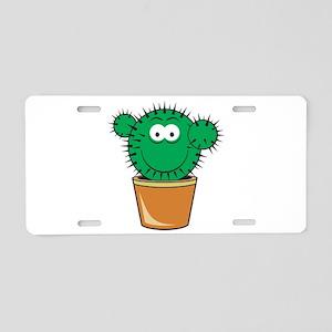 Cute Cactus Smiley Face Aluminum License Plate