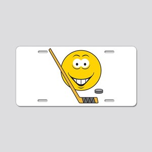 Hockey Player Smiley Face Aluminum License Plate