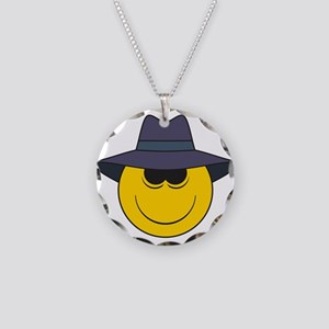 Private Eye/Spy Smiley Face Necklace Circle Charm