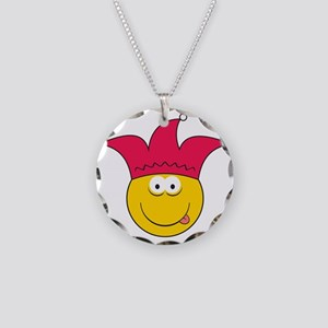 Jester Smiley Face Necklace Circle Charm