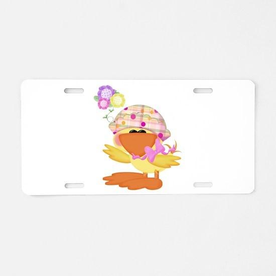 Cute Baby Girl Ducky Duck Aluminum License Plate