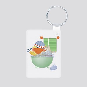 Cute Bathtime Ducky Aluminum Photo Keychain
