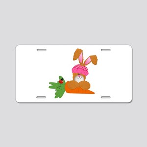 Cute Bunny With Carrot Aluminum License Plate