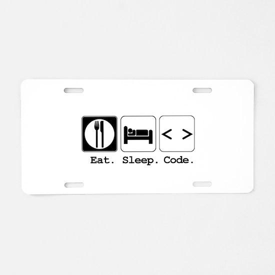 Eat. Sleep. Code. Aluminum License Plate