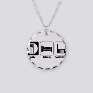 Eat. Sleep. Compute. Necklace Circle Charm
