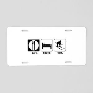 Eat. Sleep. Ski. Aluminum License Plate