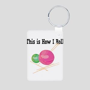 How I Roll (Yarn) Aluminum Photo Keychain