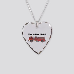 How I Roll (Fire Engine/Truck Necklace Heart Charm