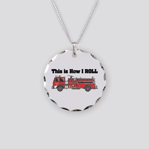 How I Roll (Fire Engine/Truck Necklace Circle Char