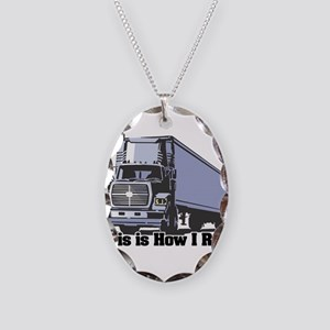 How I Roll (Tractor Trailer) Necklace Oval Charm