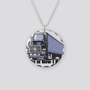 How I Roll (Tractor Trailer) Necklace Circle Charm