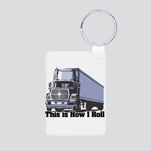 How I Roll (Tractor Trailer) Aluminum Photo Keycha