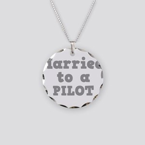 Married to a Pilot Necklace Circle Charm