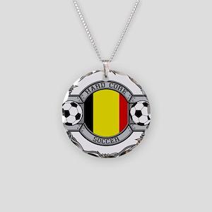 Belgium Soccer Necklace Circle Charm