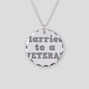 Married to a Veteran Necklace Circle Charm