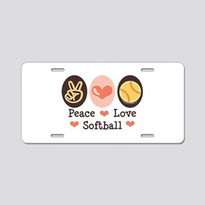Peace Love Softball Aluminum License Plate