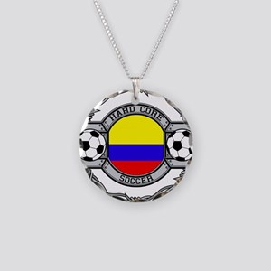 Colombia Soccer Necklace Circle Charm