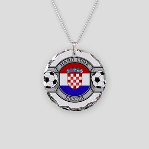 Croatia Soccer Necklace Circle Charm