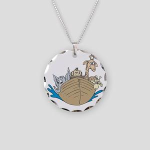 Cute Noah's Ark Design Necklace Circle Charm