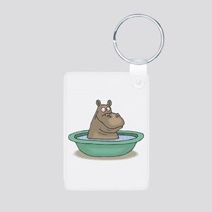 Silly Hippo In Tub Aluminum Photo Keychain