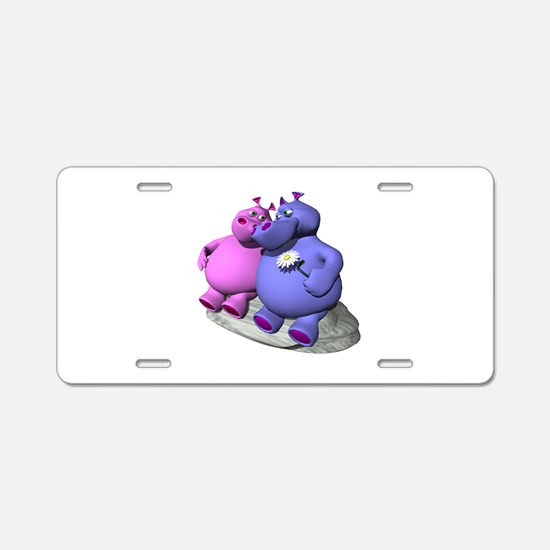Hippos in Love Aluminum License Plate