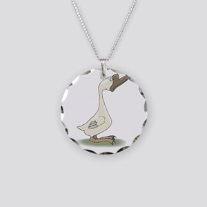 Silly White Goose Necklace Circle Charm