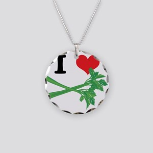 I Heart (Love) Celery Necklace Circle Charm