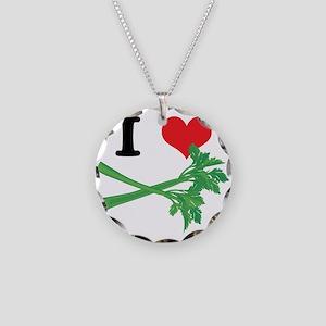 I Heart (Love) Celery Necklace Circle Charm