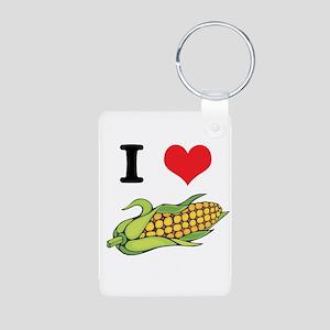 I Heart (Love) Corn (On the C Aluminum Photo Keych