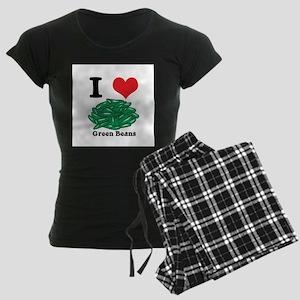 I Heart (Love) Green Beans Women's Dark Pajamas