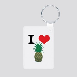 I Heart (Love) Pineapple Aluminum Photo Keychain