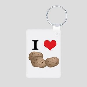 I Heart (Love) Potatoes Aluminum Photo Keychain