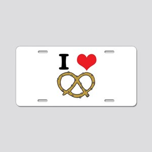 I Heart (Love) Pretzels Aluminum License Plate