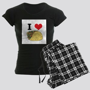 I Heart (Love) Tacos Women's Dark Pajamas