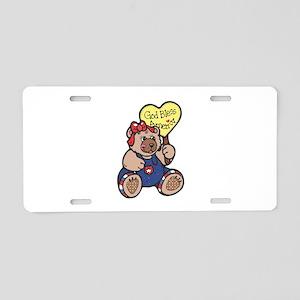 God Bless America Teddy Bear Aluminum License Plat