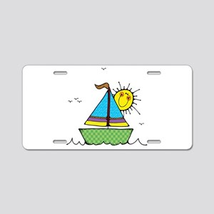 Cute Sail Boat and Sun Aluminum License Plate